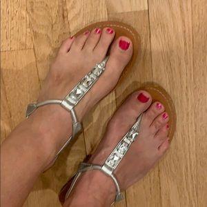 Silver jeweled Sandals sz 9 Merona
